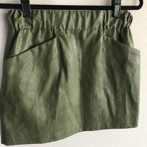 Zara Green Leather Mini Skirt